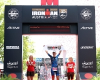 KLAGENFURT, AUSTRIA - JULY 01:  Mareen Hufe of Germany celebrates winning IRONMAN Austria-Karnten on July 1, 2018 in Klagenfurt, Austria.  (Photo by Bryn Lennon/Getty Images for IRONMAN)